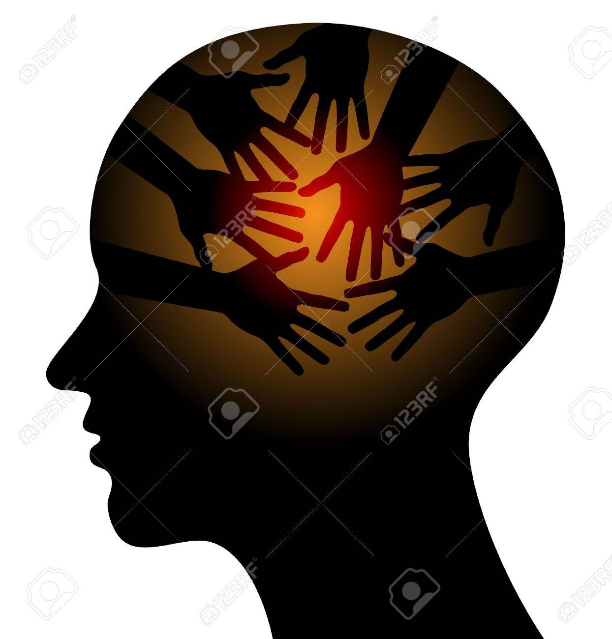 Head with Caring hands, abstract Stock Vector - 14475661
