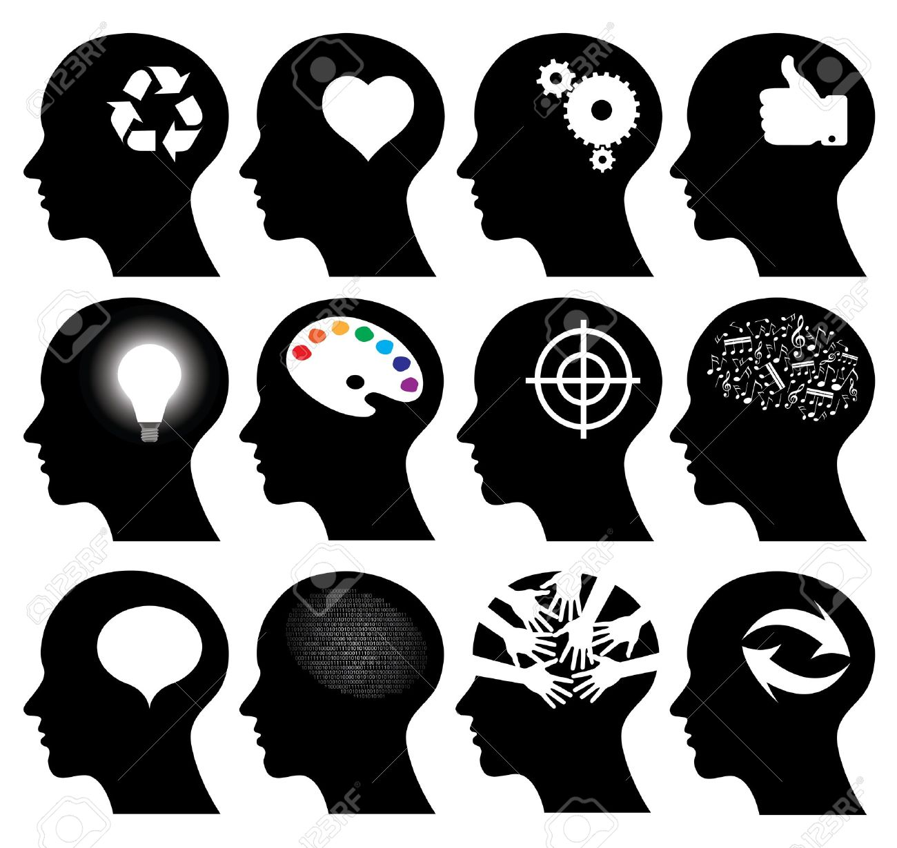 Set of 12 head icons with idea symbols, vector illustrations Stock Vector - 14643530