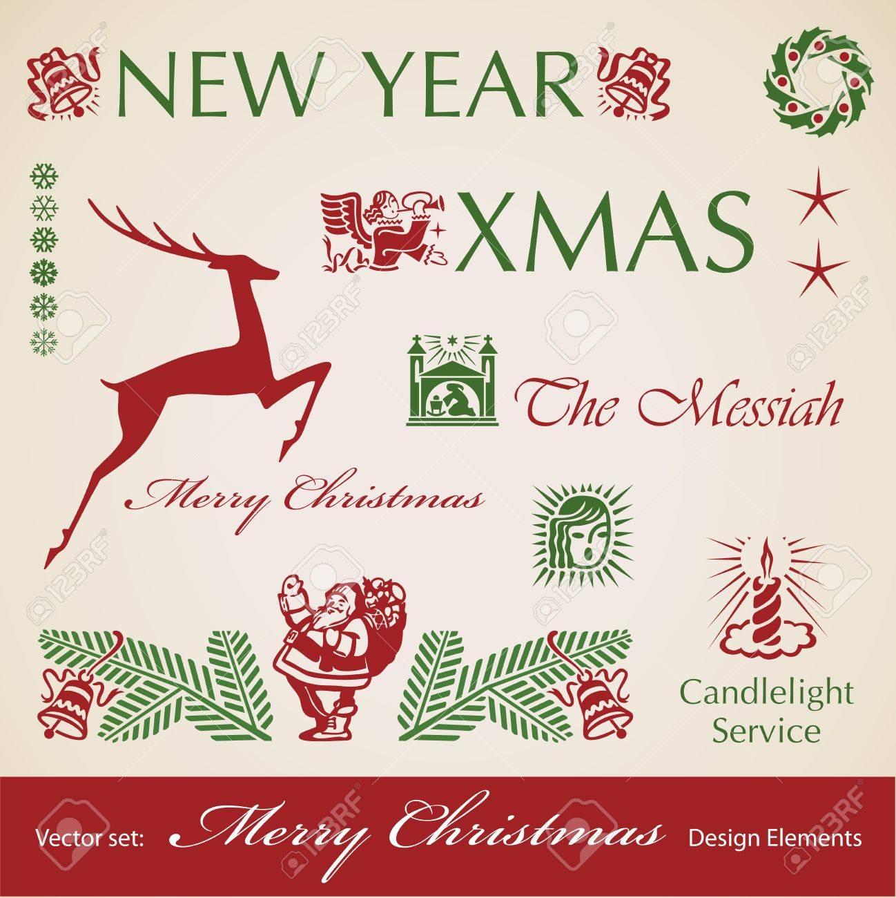 Christmas decoration retro set,  design elements Stock Vector - 15964900