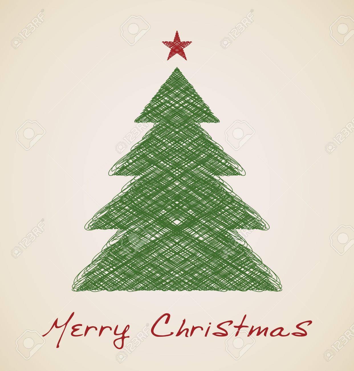 Vettoriale Schizzo Di Natale Abete Disegno Vettoriale Retrò Image