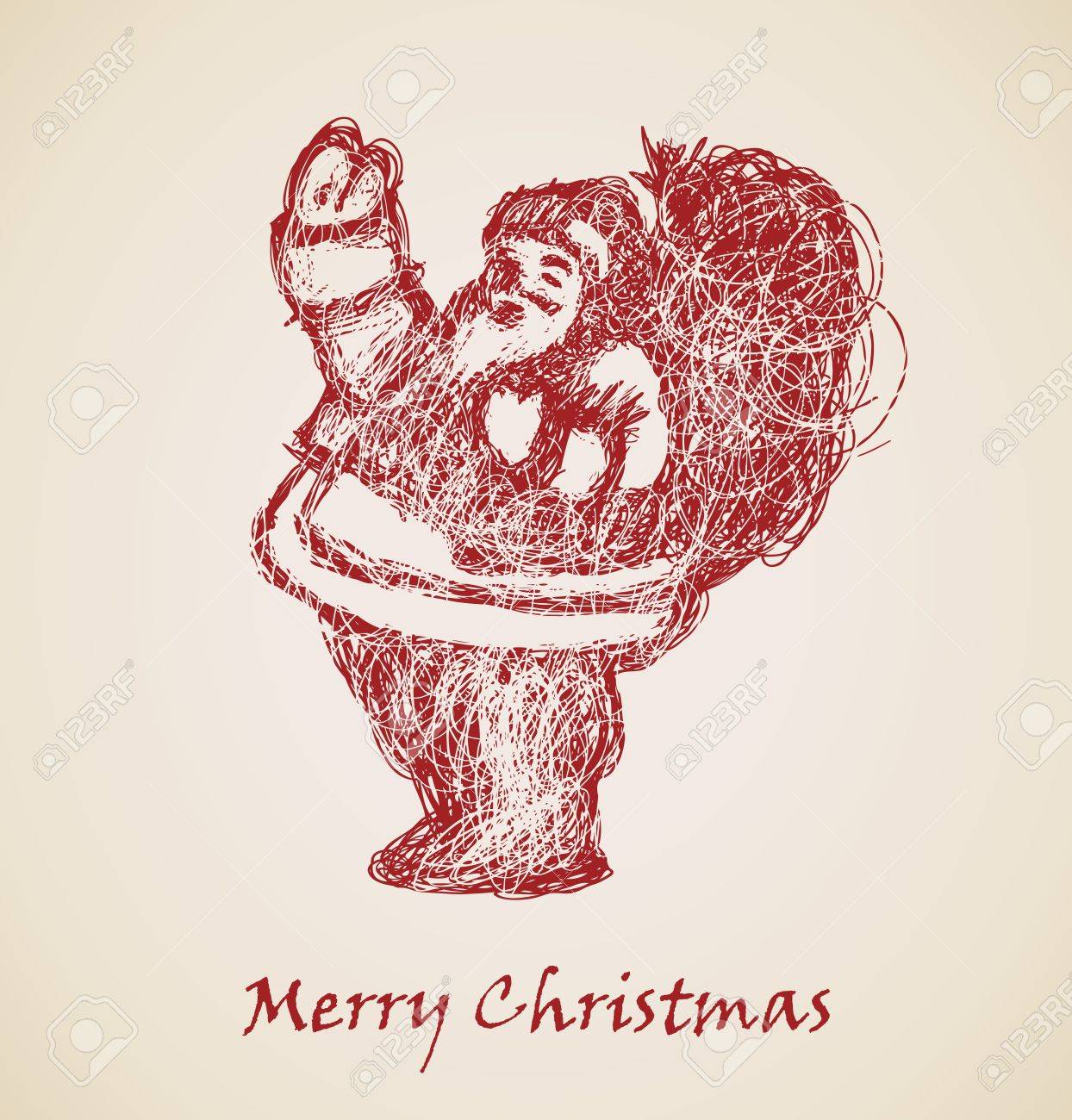 Santa Claus Sketch, élément De Conception De Noël Clip Art Libres De ...