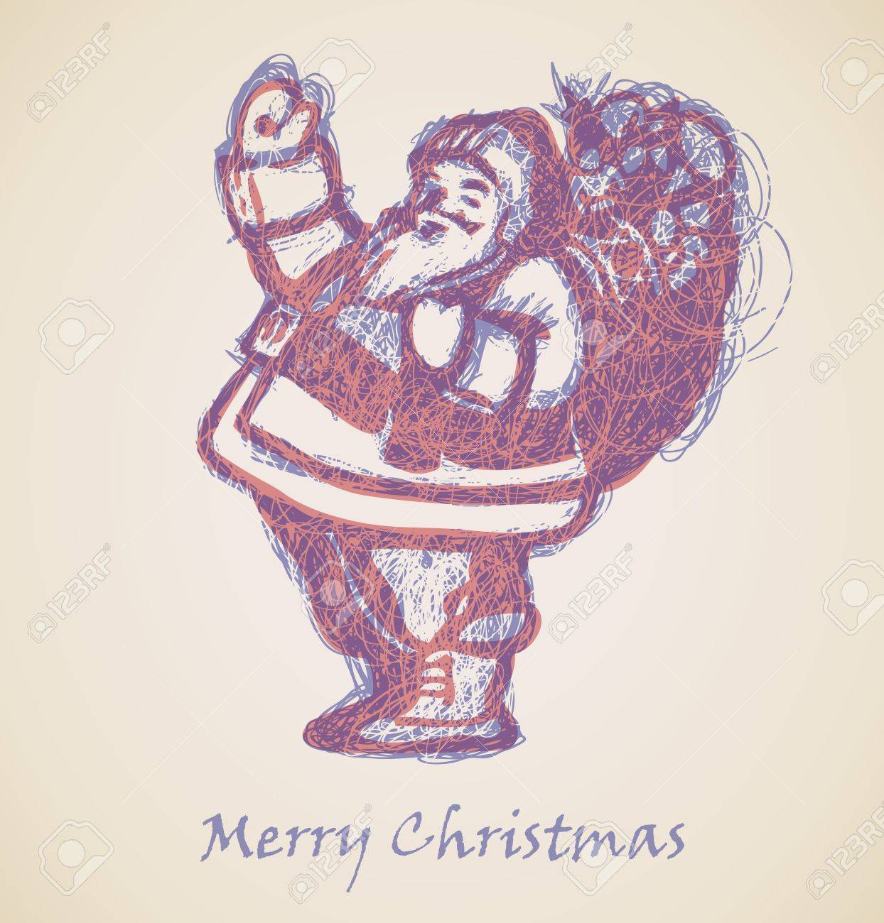 Santa Claus Sketch, Christmas design element Stock Vector - 15339567