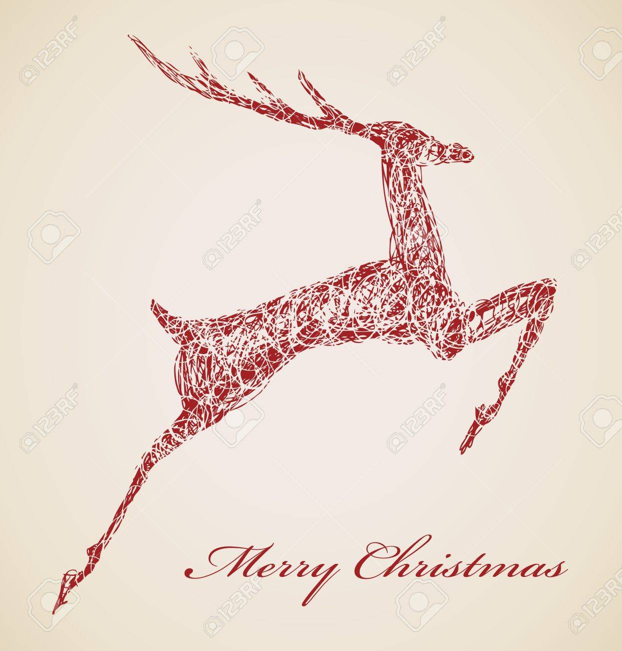 Hand drawn jump deer, Christmas design element Stock Vector - 15339632