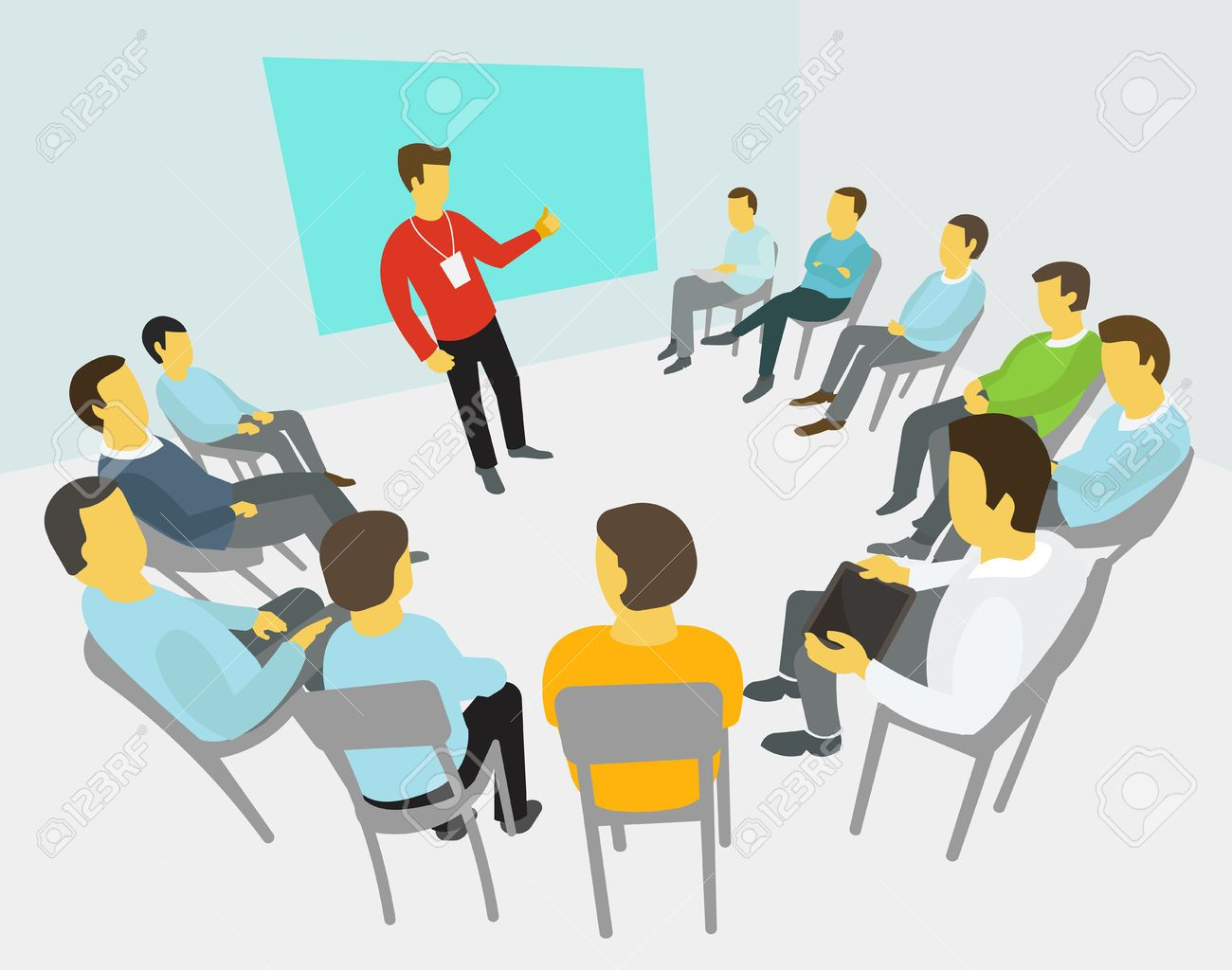 group of business people having a meeting around conference
