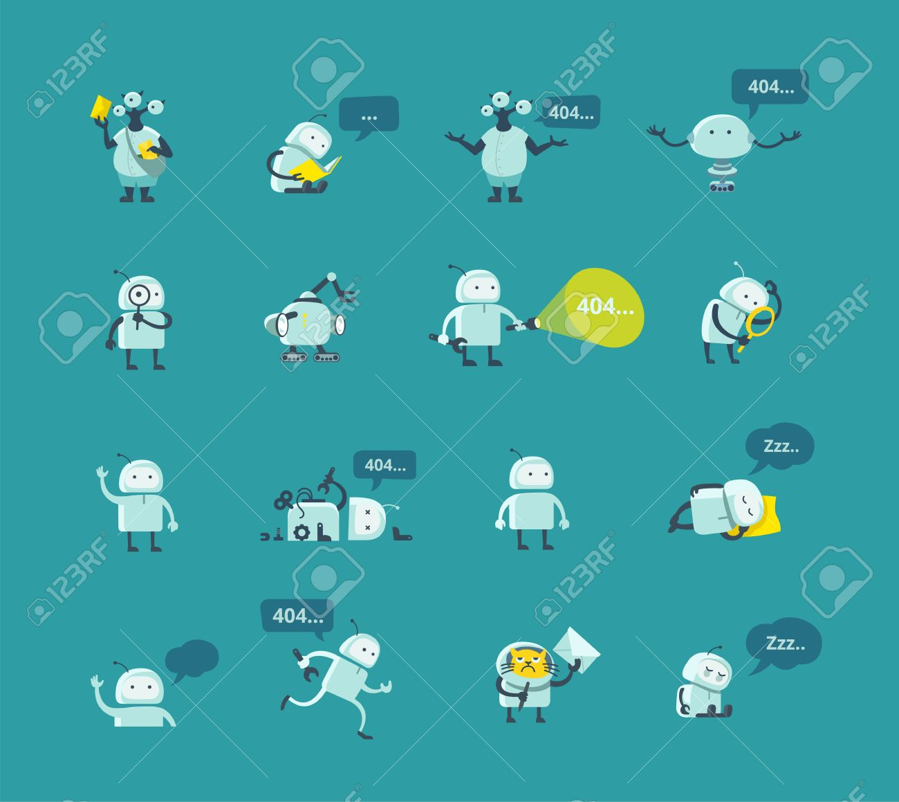 Character robot set Different situations  404 error page not