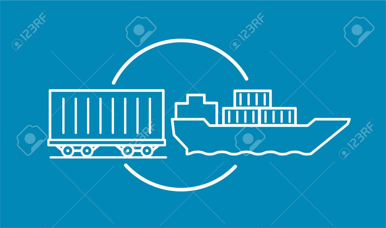 Container delivery by rail and water transport on barge icon