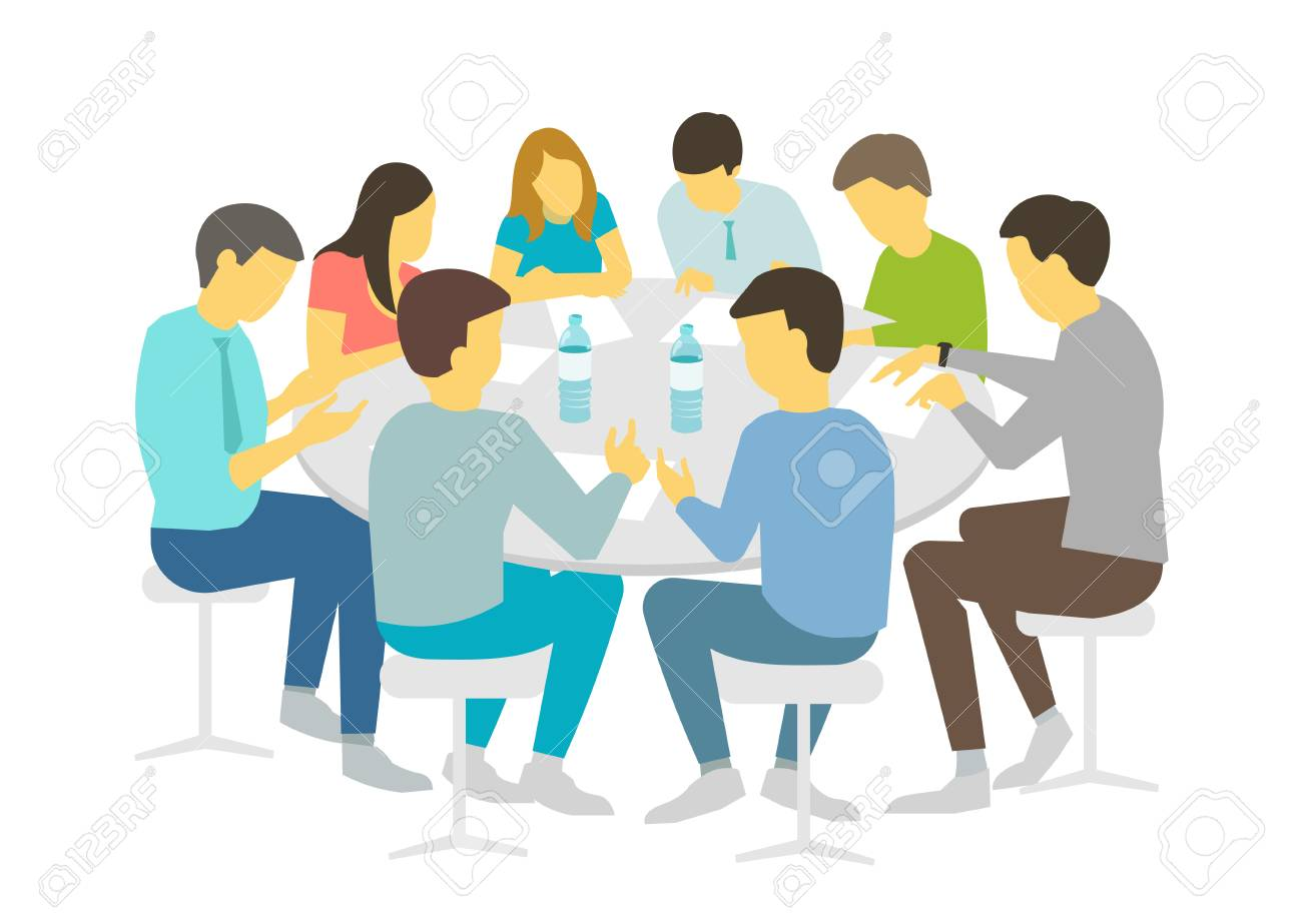 Round table talks brainstorm. Team business people meeting conference eight people. White background stock illustration vector Refresher courses - 90303865