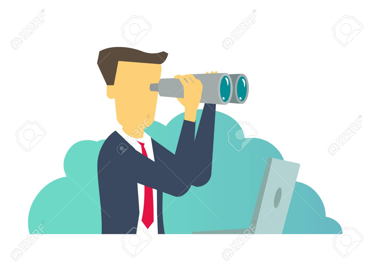 Person man looking ahead through binoculars. Vector illustration - 111212200