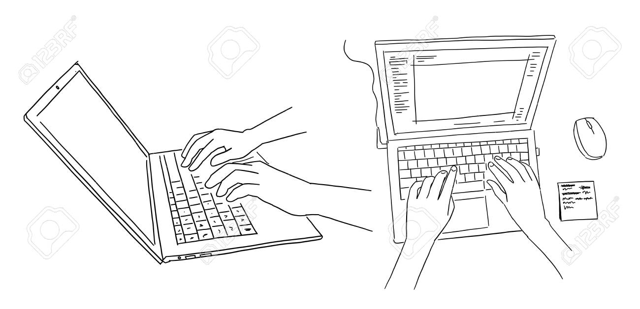 Hands And Laptop Keyboard Typing Side View View From Above Royalty Free Cliparts Vectors And Stock Illustration Image 142057080
