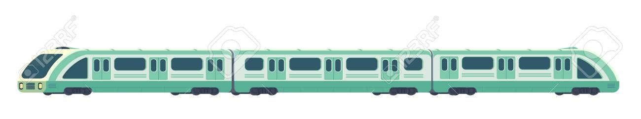 Passanger modern electric high-speed train. Railway subway or metro transport. Underground train Vector illustration flat style. - 110480023