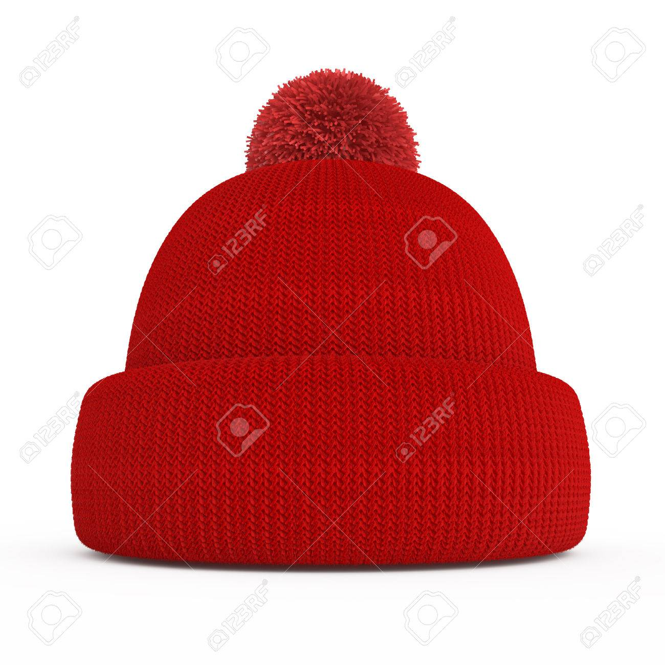 Red knitted winter hat isolated on a white background Stock Photo - 24230685 c2ab197eb9e
