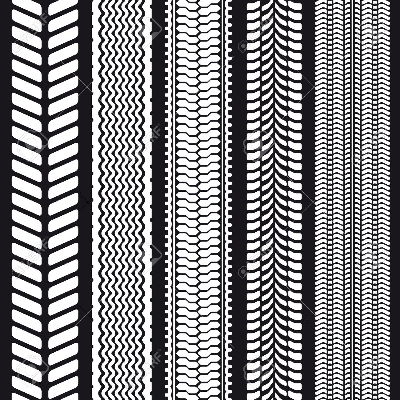 Set of five tire treads. Seamless texture. Vector illustration. Stock Vector - 25093103