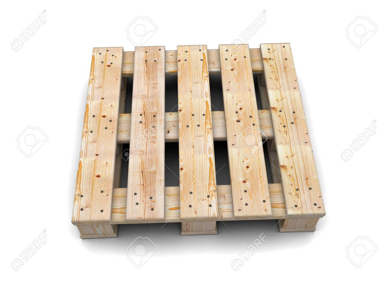 Wooden Pallet Isolated On White Background Top View Stock Photo
