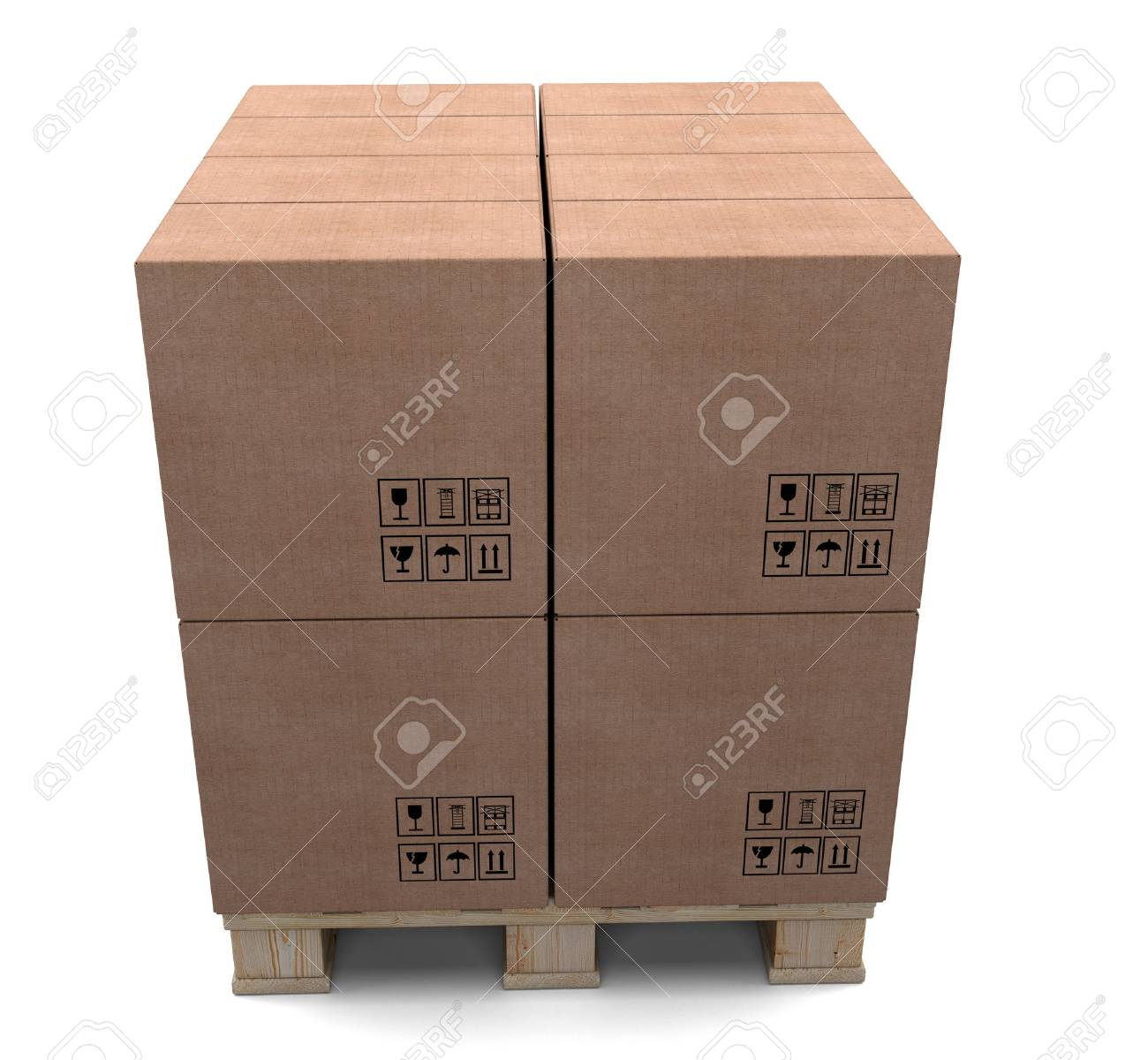 Cardboard boxes on wooden palette isolated on white background Stock Photo - 26010957