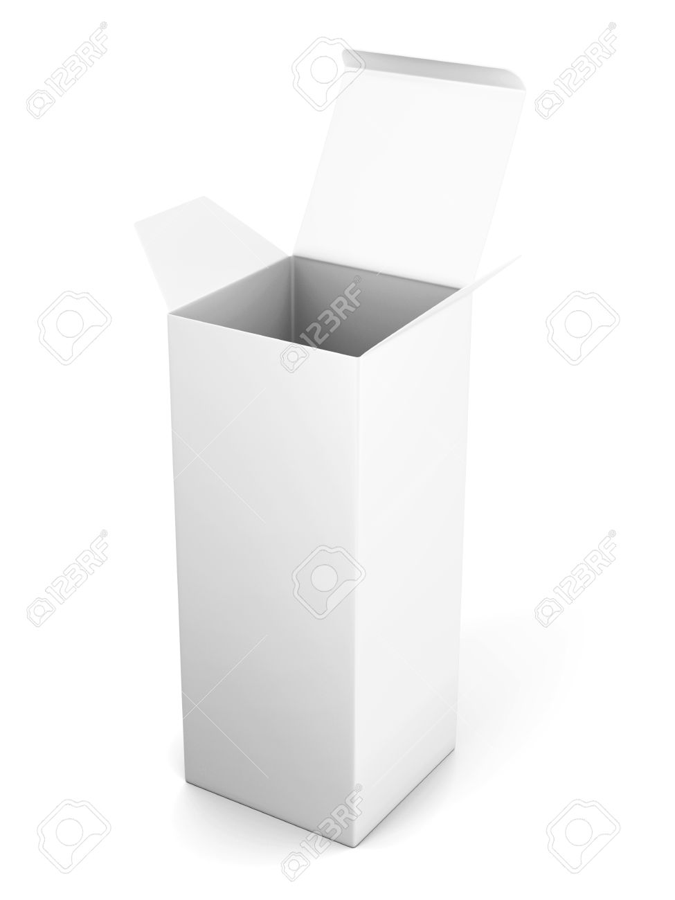 Blank Open Vertical Cardboard Box Template Standing On White.. Stock ...