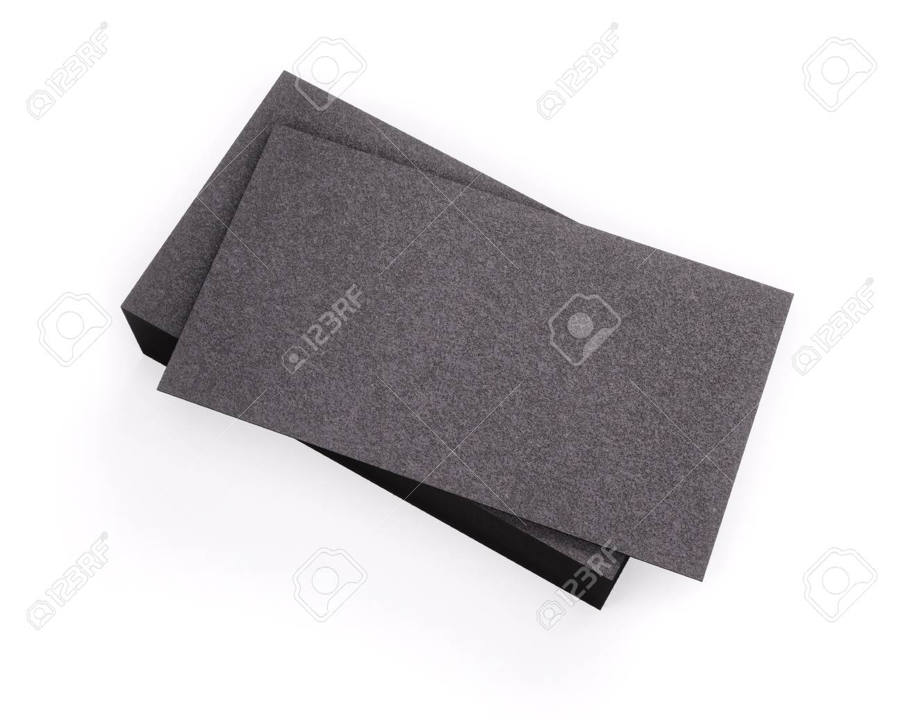 3D Rendering Of Business Card Blank Template Black Cards Isolated On White Background Stock