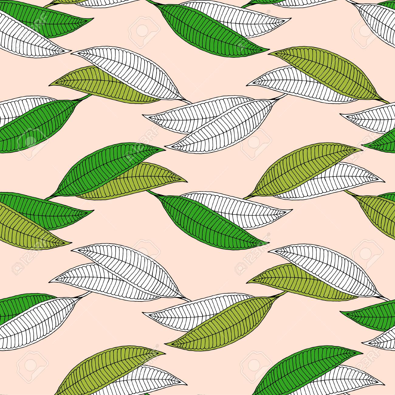 Plumeria horizontal abstract leaf seamless pattern. Isolated green and white leaves on a beige background. - 131296656
