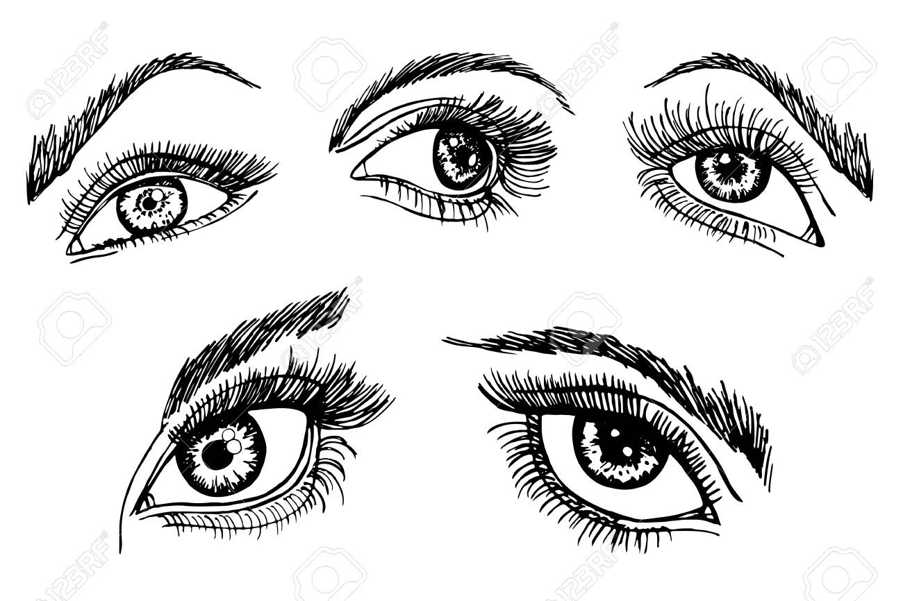 Vector Images, Illustrations and Cliparts: Beautiful eye with eyeliner |  Hqvectors.com