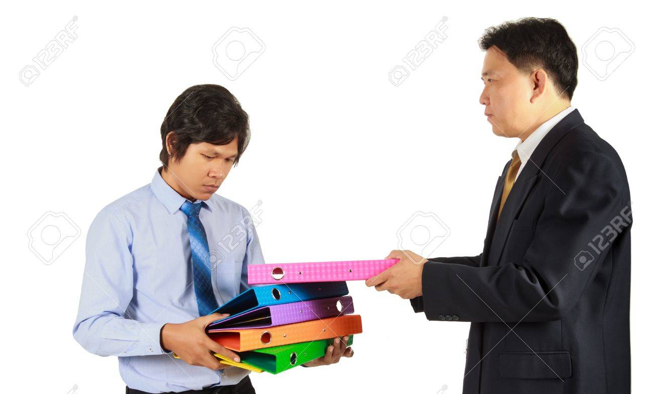 boss give too much work to employee stock photo picture and boss give too much work to employee stock photo 21709352