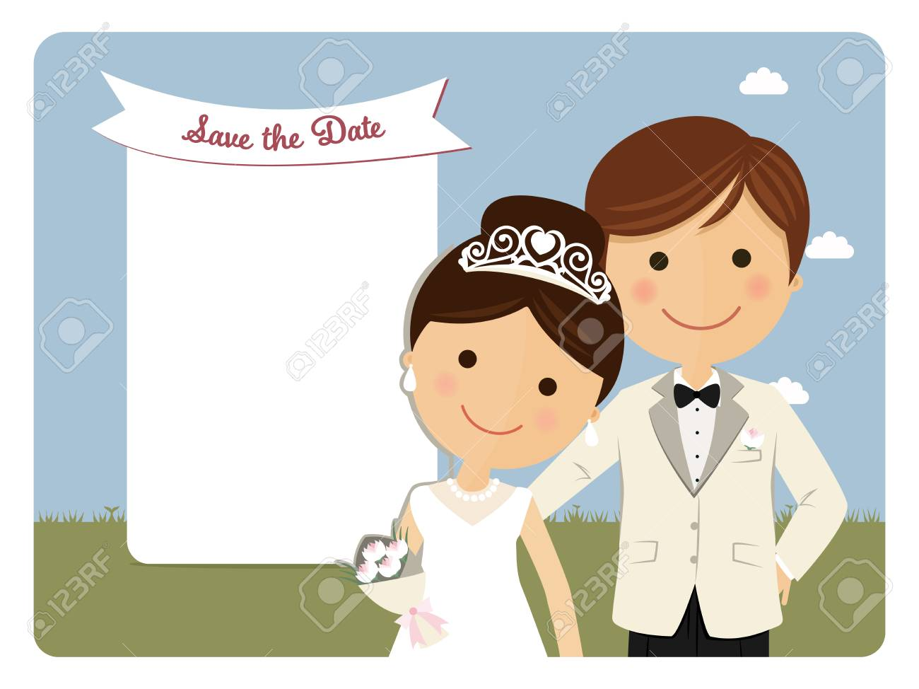 Princely style couple foreground for wedding invitation on blue background - 77225659