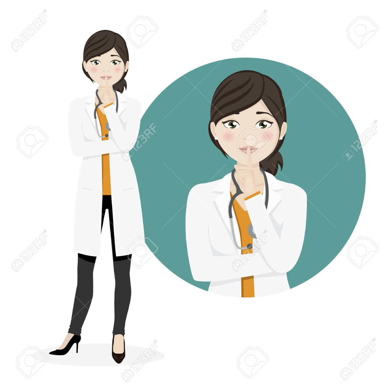 Woman doctor asking for silence on a white background. Vector illustration - 124348706