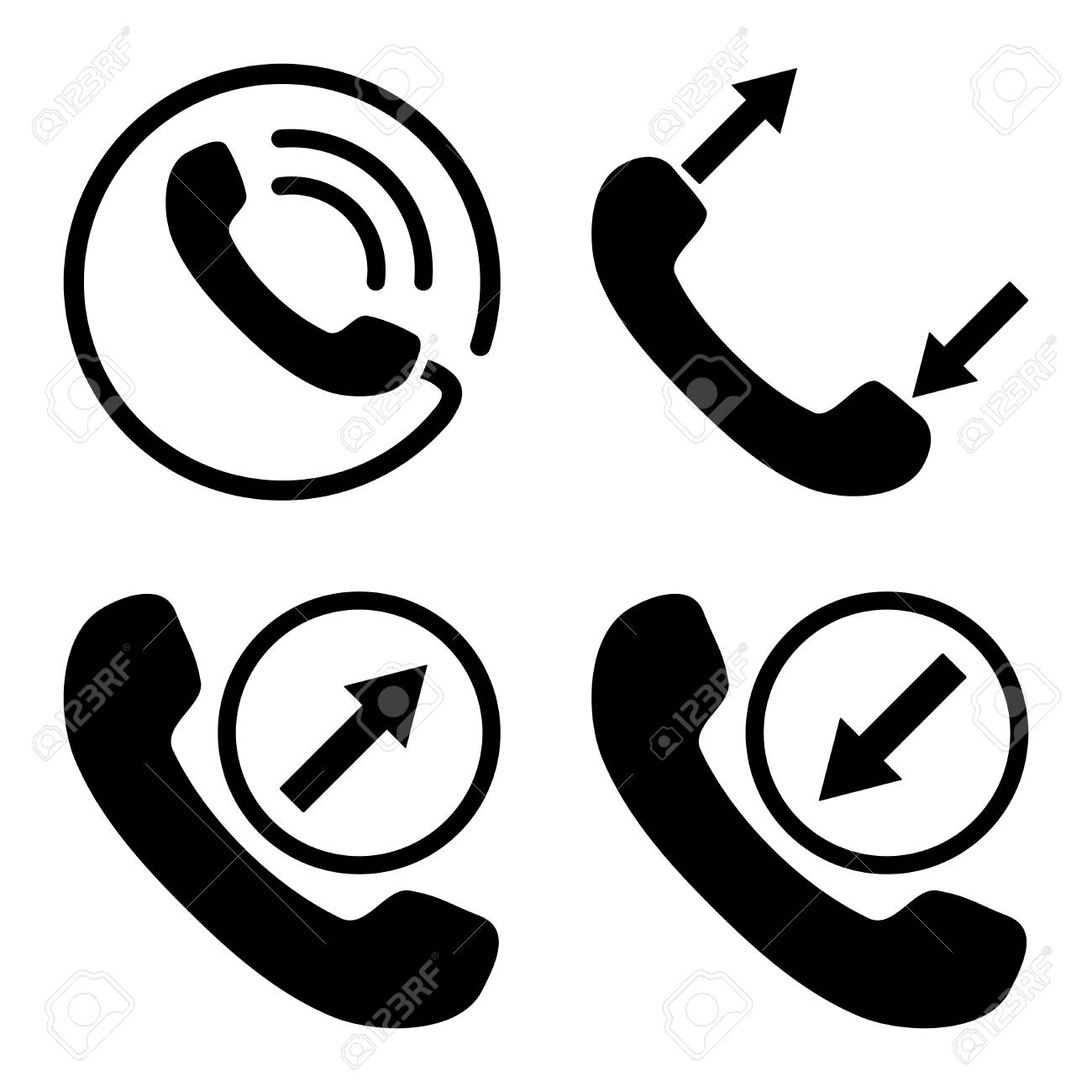 Phone Call Vector Icons Style Is Black Flat Symbols On A White