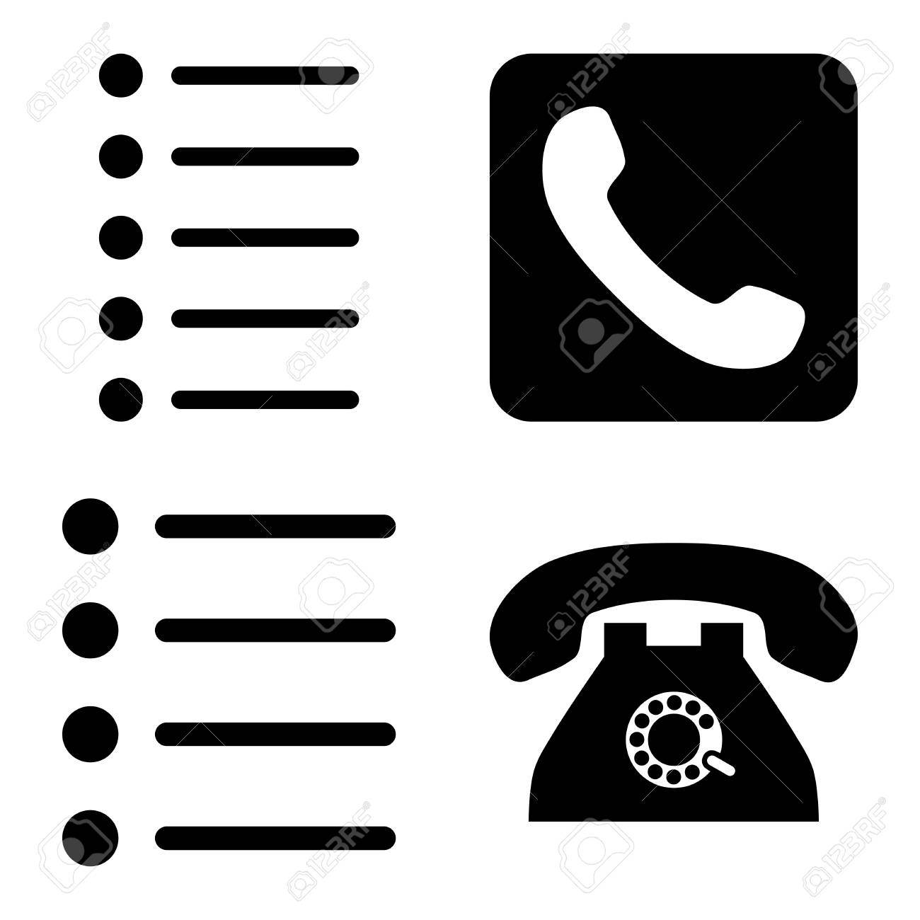 Phone List Vector Icons Style Is Black Flat Symbols On A White