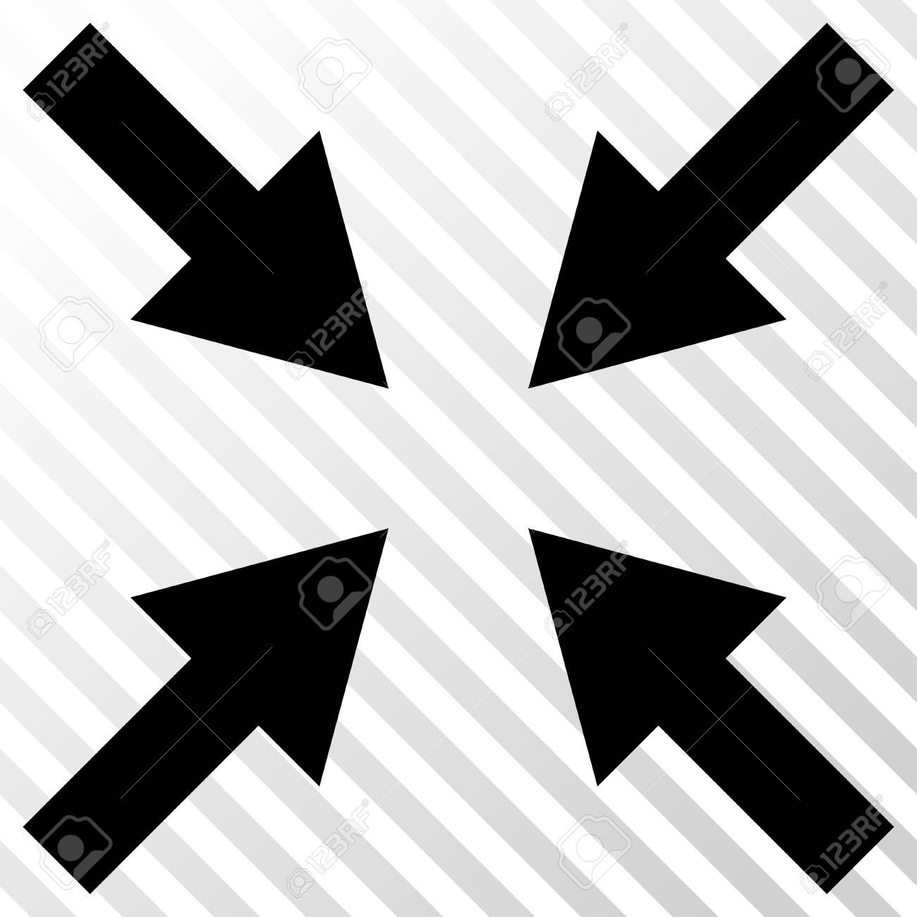 Compress Arrows Vector Icon Image Style Is A Flat Black Pictogram