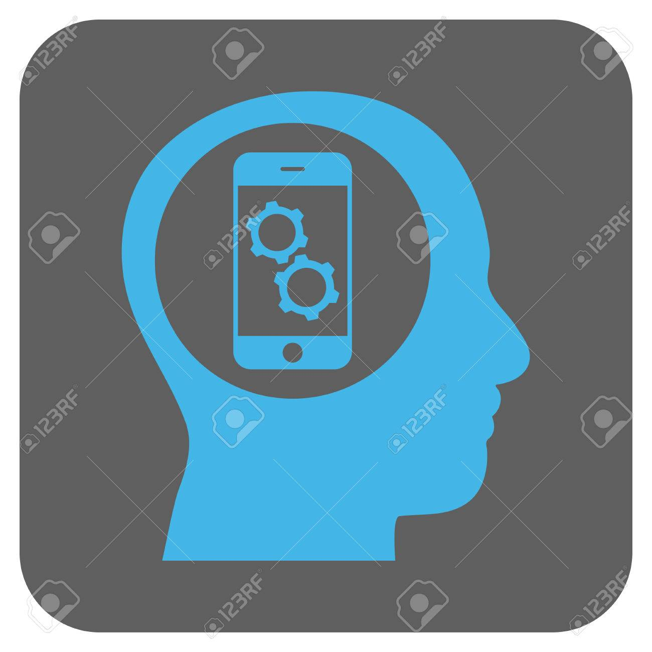 Smartphone Mind Control Vector Icon. Image Style Is A Flat Icon ...