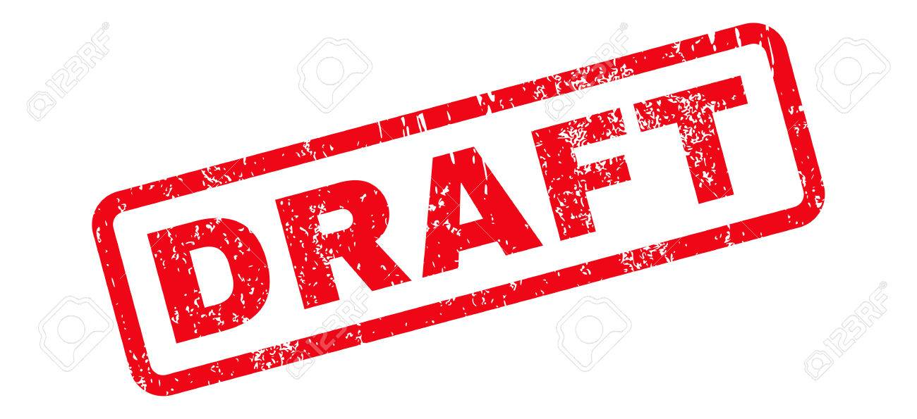 Draft Text rubber seal stamp watermark. Caption inside rectangular shape with grunge design and scratched texture. Slanted vector red ink sticker on a white background. - 66562160