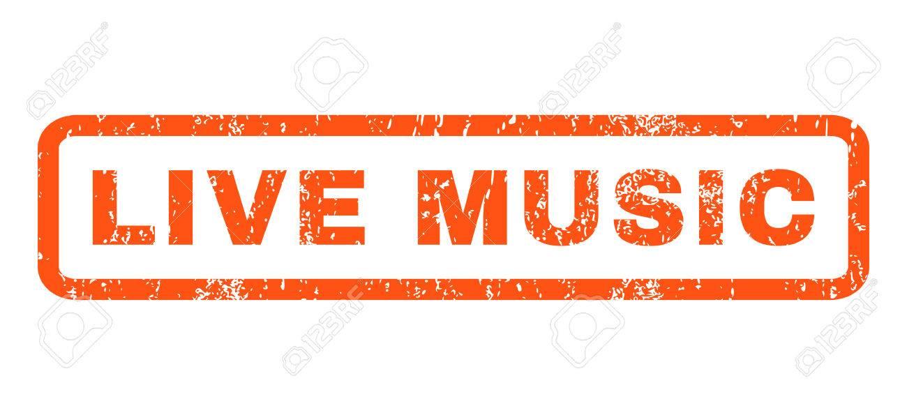 Música En Vivo De Caucho Sello De Marca De Agua De Texto Sello Etiqueta Redondeada En El Interior De Forma Rectangular Con Diseño De Grunge Y Textura De Polvo Horizontal Emblema De