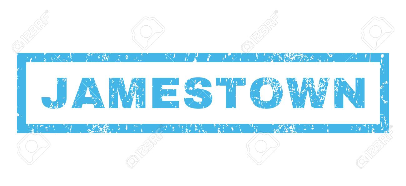 Jamestown Text Rubber Seal Stamp Watermark Tag Inside Rectangular Banner With Grunge Design And Dust