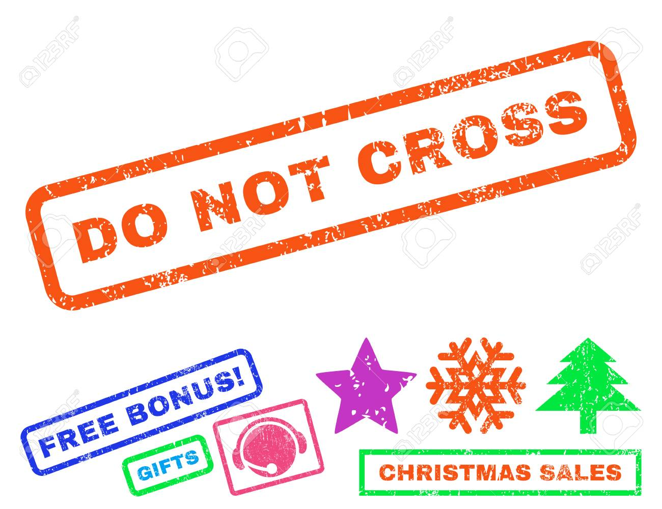 Do Not Cross Text Rubber Seal Stamp Watermark With Additional