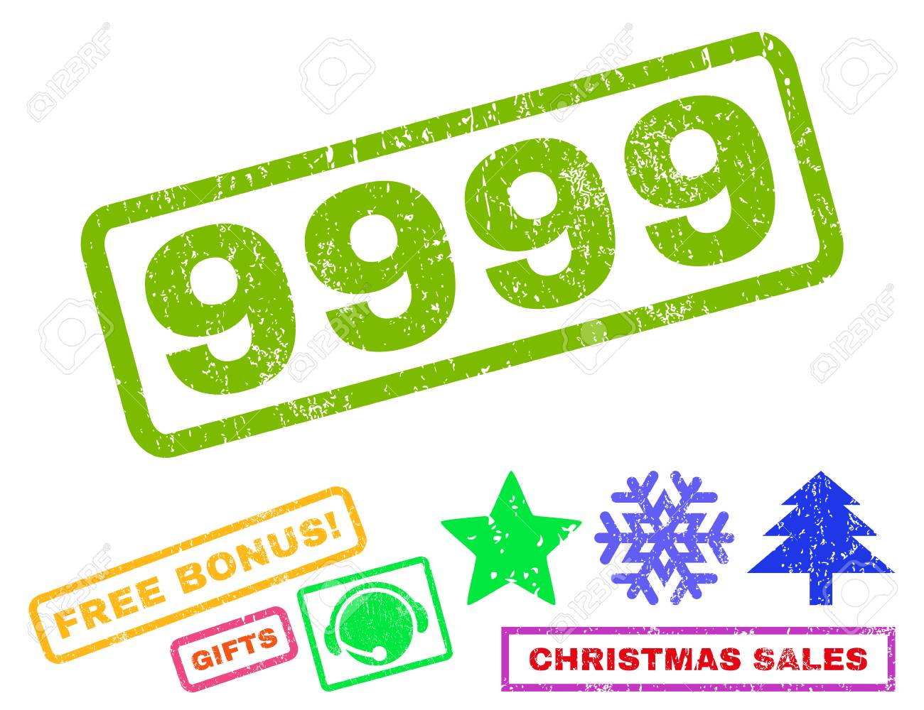 9999 Text Rubber Seal Stamp Watermark With Additional Bonus