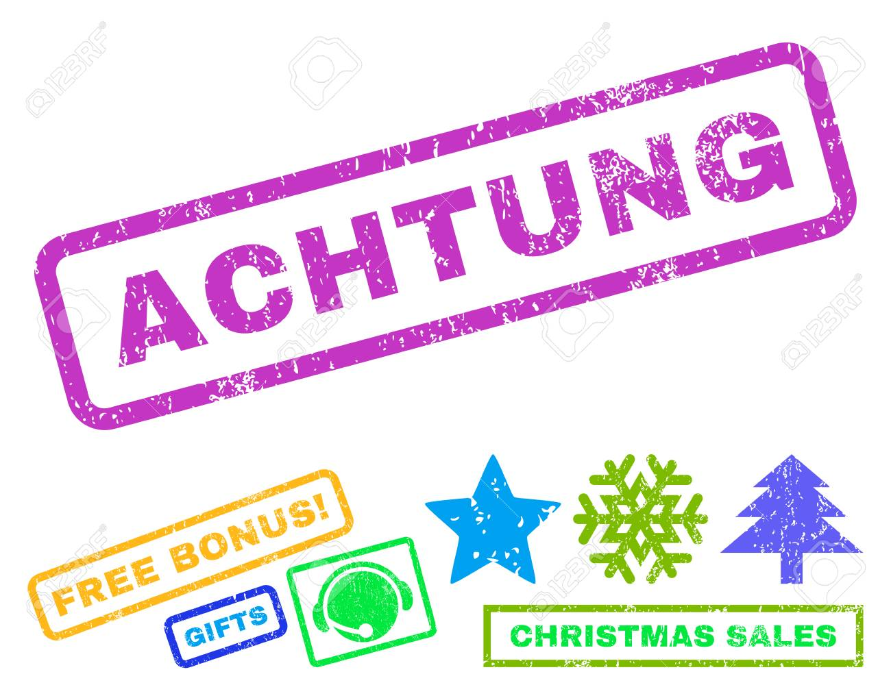 Achtung Text Rubber Seal Stamp Watermark With Bonus Christmas