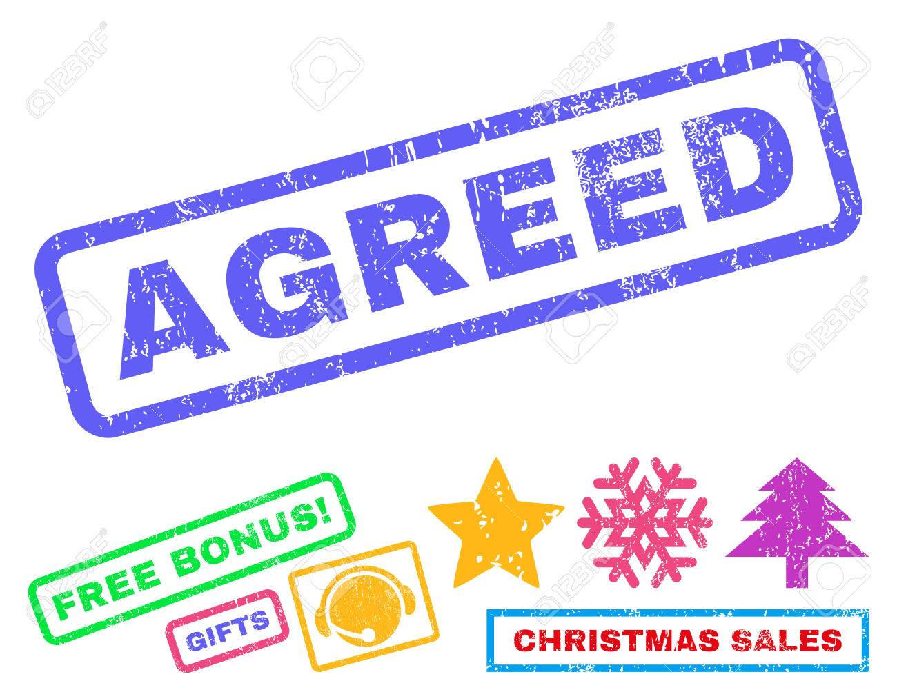 Agreed Text Rubber Seal Stamp Watermark With Bonus Christmas Symbols