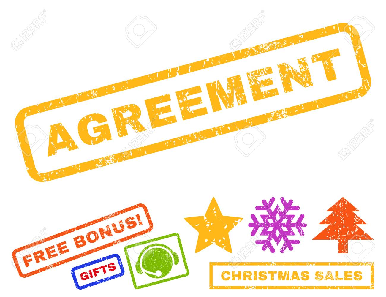 Agreement Text Rubber Seal Stamp Watermark With Additional Bonus