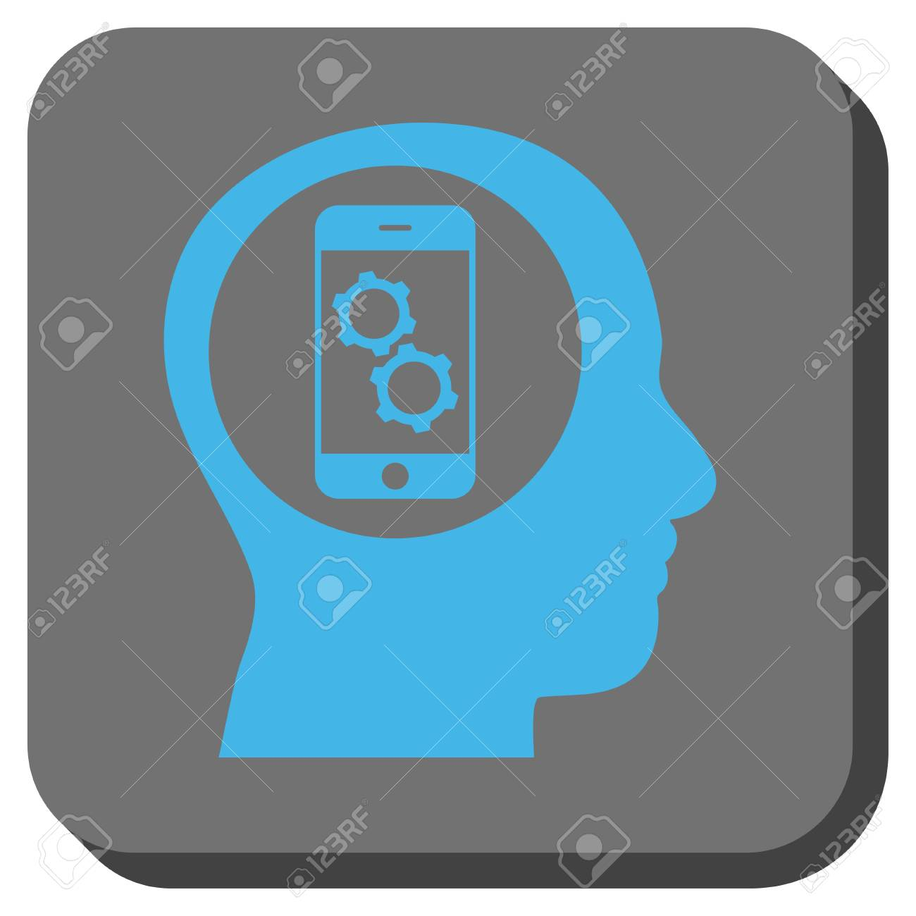 Smartphone Mind Control Square Icon. Vector Pictogram Style Is ...