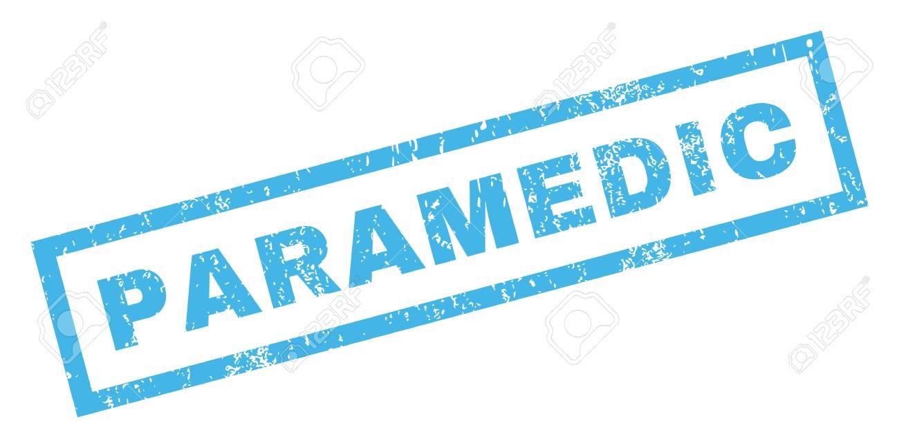 Paramédico de caucho sello de marca de agua de texto sello  Título dentro  bandera rectangular con diseño de grunge y textura sucia  Inclinados vector