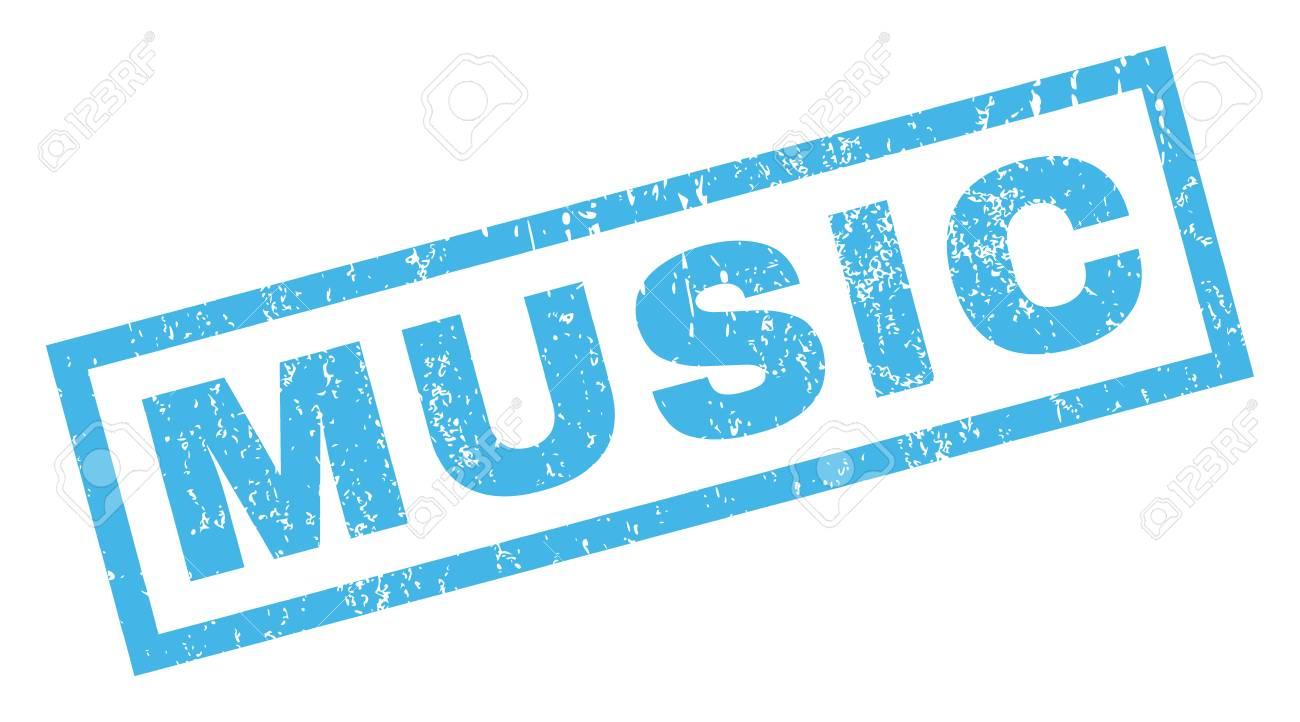 Marca De Agua Del Sello Del Sello De Goma Del Texto De La Música Título Dentro De Forma Rectangular Con Diseño Grunge Y Textura Sucia Inclinado Vector Tinta Azul Emblema Sobre Un