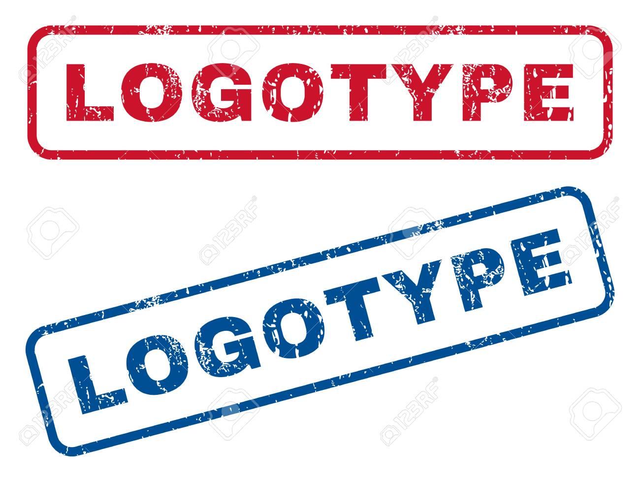 b897589ad2b0 Logotipo Testo Filigrane Di Sigillo Di Gomma. Lo Stile Di Vettore è  L etichetta Di Inchiostro Blu E Rosso All interno Del Banner Rettangolare  Arrotondato.