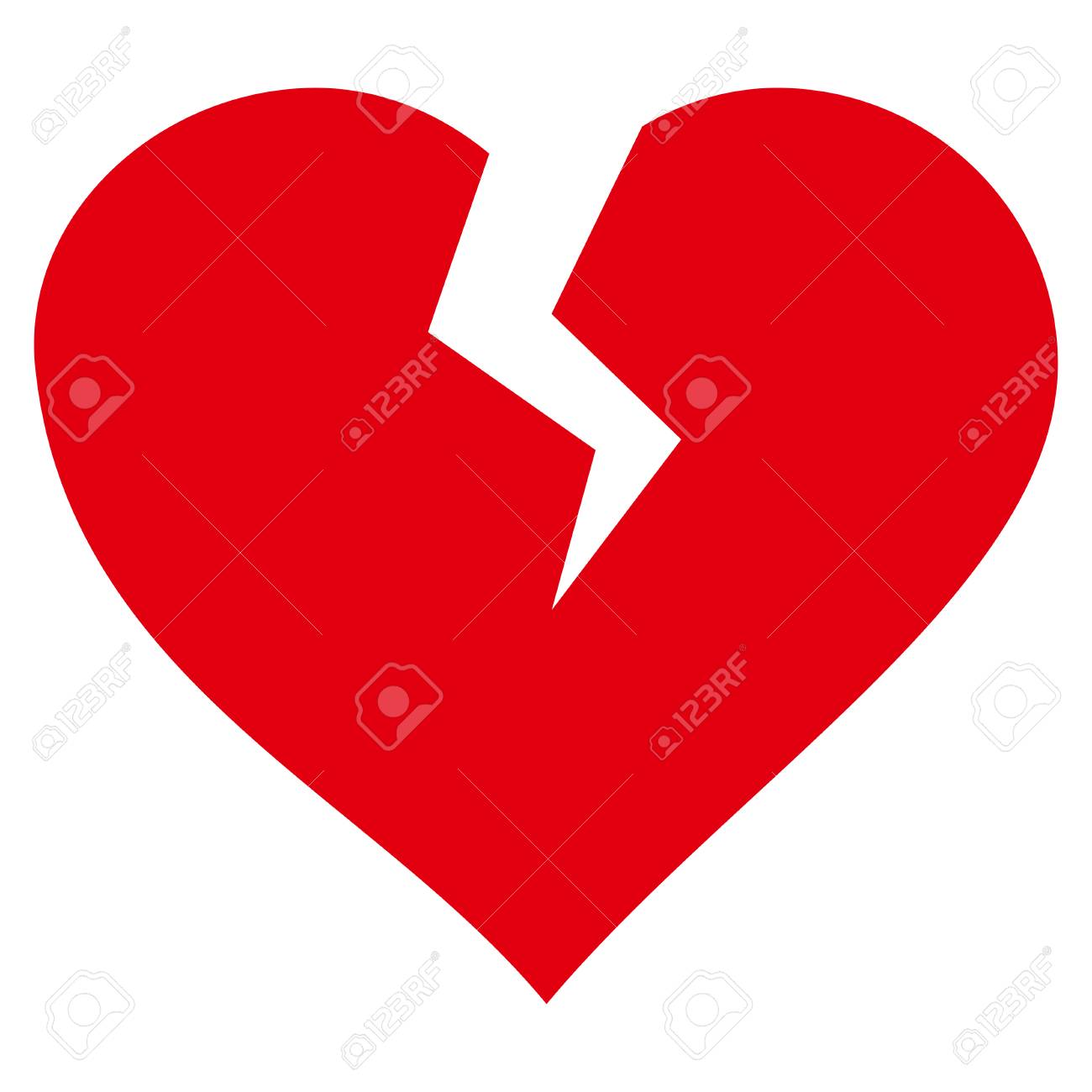 Heart Break Flat Icon Vector Red Symbol Pictograph Is Isolated