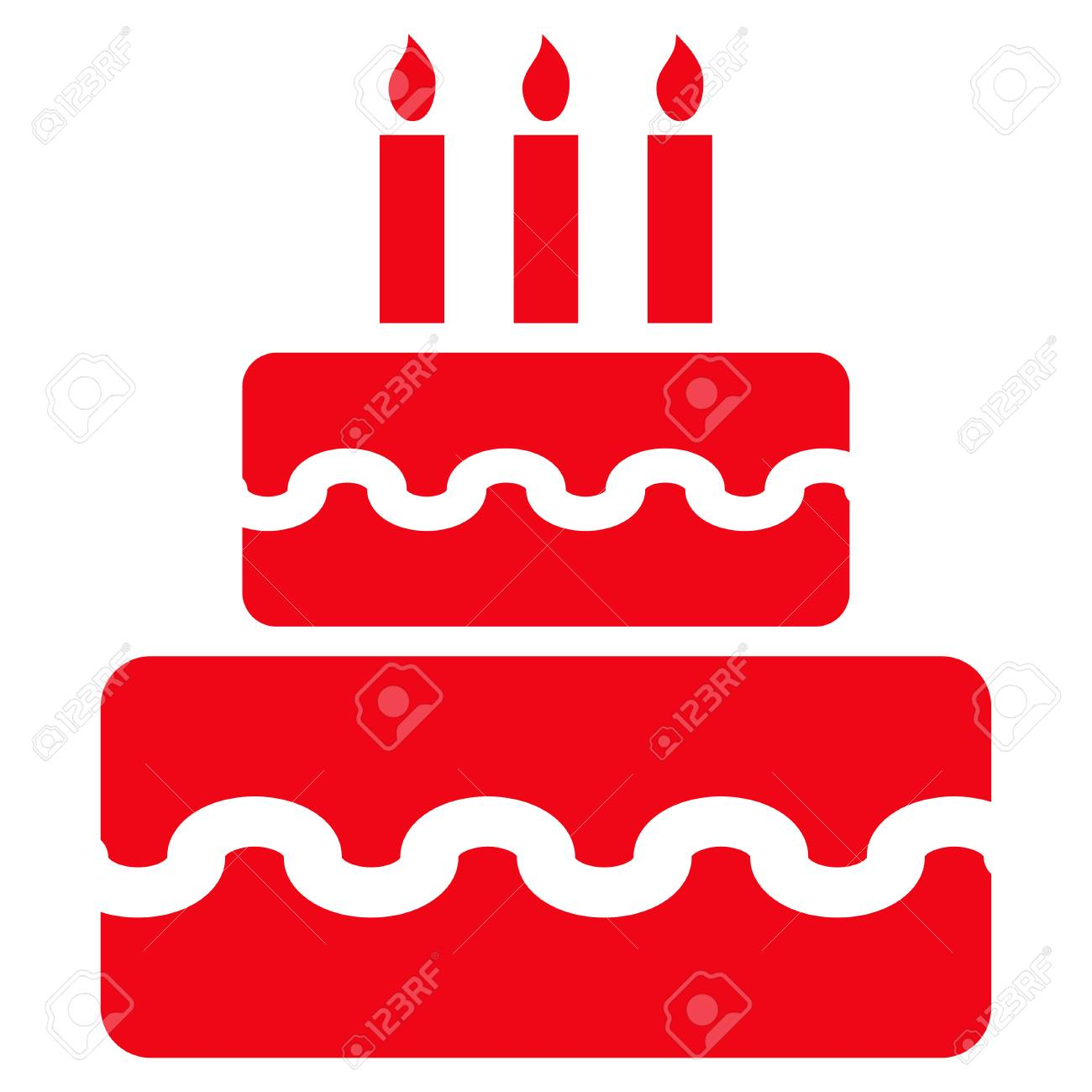 Birthday Cake Flat Icon Vector Red Symbol Pictogram Is Isolated
