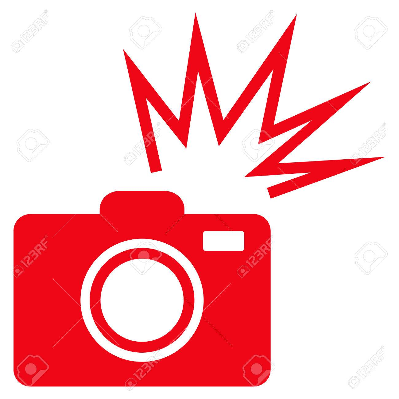 camera flash flat icon vector red symbol pictogram is isolated rh 123rf com Photography Clip Art Food Clip Art