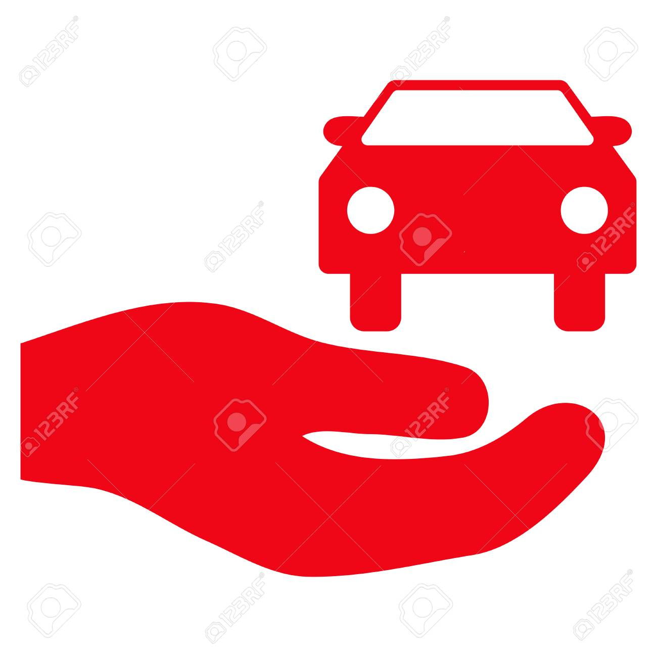 Car Gift Hand Flat Icon Vector Red Symbol Pictograph Is Isolated