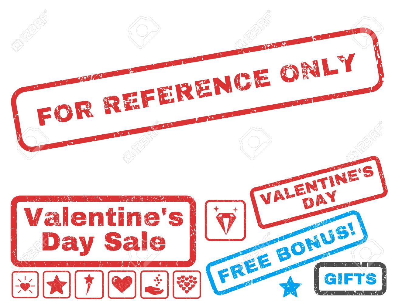 For Reference Only Text Rubber Seal Stamp Watermark With Valentines Sale Bonus Captions Inside Rectangular