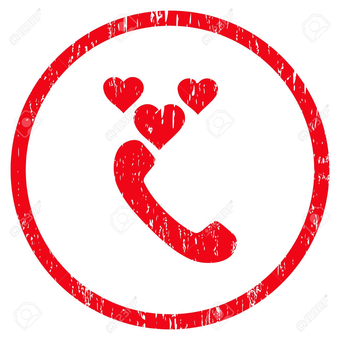 Love Phone Call Grainy Textured Icon For Overlay Watermark Stamps