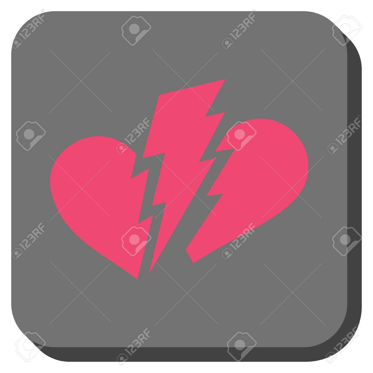 Broken Heart Square Button Vector Pictogram Style Is A Flat