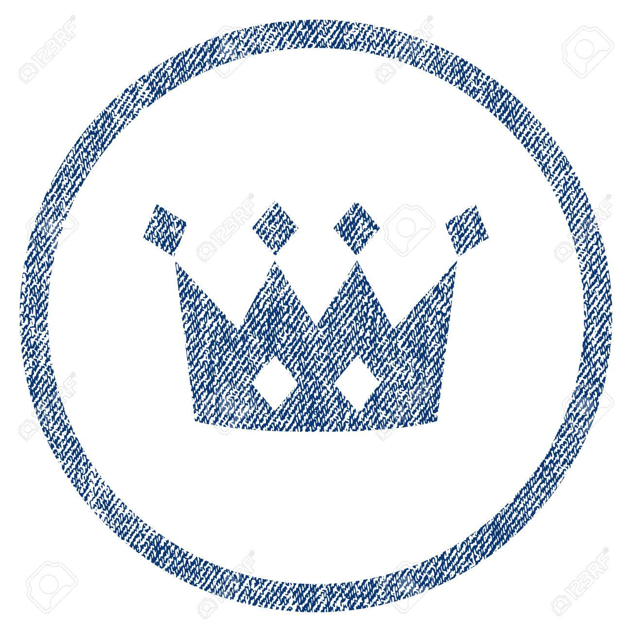 Crown Textured Icon For Overlay Watermark Stamps Blue Jeans Fabric Vectorized Texture Rounded Flat
