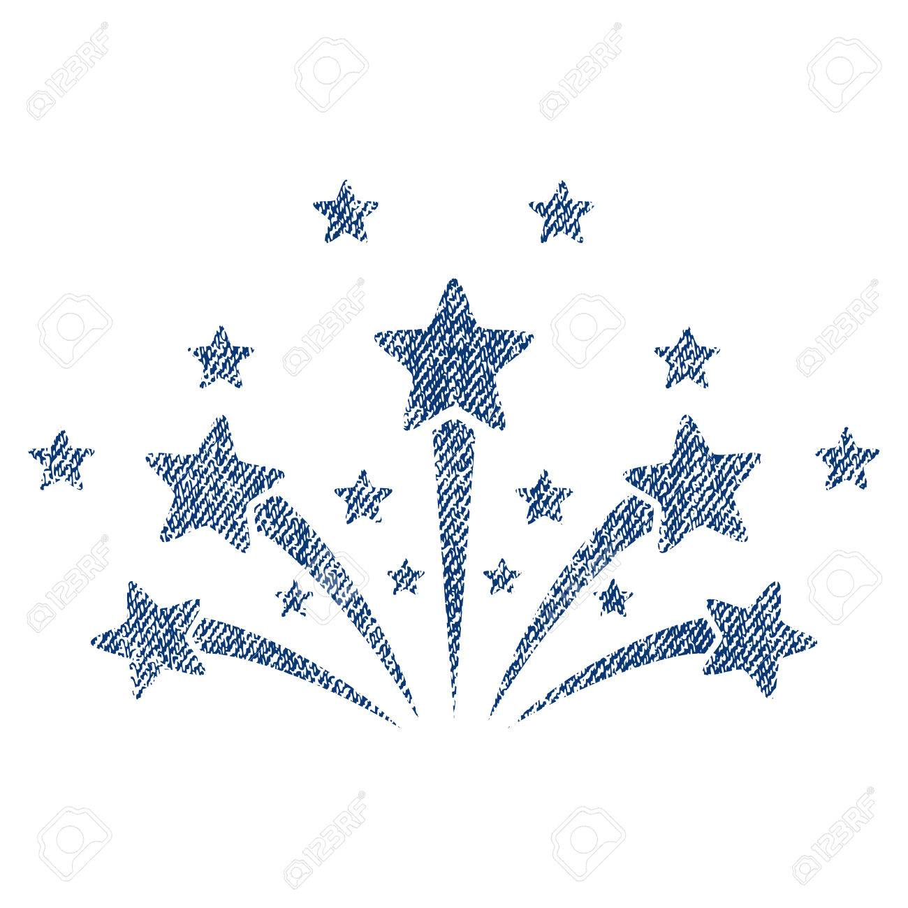 star fireworks raster textured icon for overlay watermark stamps blue jeans fabric rasterized texture